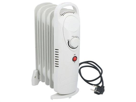Καλοριφέρ λαδιού 650W με ρυθμιζόμενο θερμοστάτη σε λευκό χρώμα, 13.5x23x39 cm, Alpina