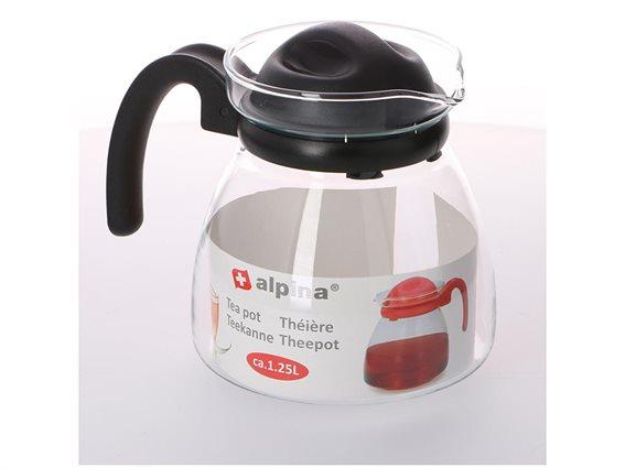 Γυάλινη Κανάτα τσαγιού χωρητικότητας 1.25L με λαβή, Alpina Switzerland Tea pot Μαύρο