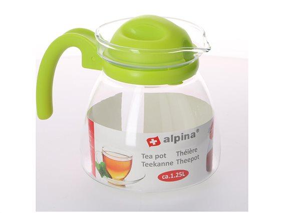 Γυάλινη Κανάτα τσαγιού χωρητικότητας 1.25L με λαβή, Alpina Switzerland Tea pot Πράσινο