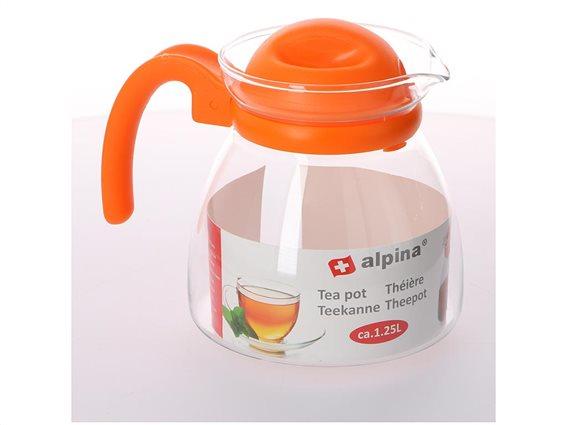 Γυάλινη Κανάτα τσαγιού χωρητικότητας 1.25L με λαβή, Alpina Switzerland Tea pot Πορτοκαλί