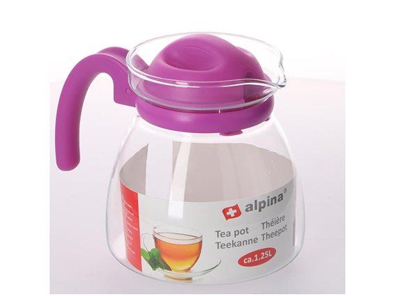 Γυάλινη Κανάτα τσαγιού χωρητικότητας 1.25L με λαβή, Alpina Switzerland Tea pot Μωβ