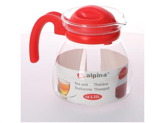 Γυάλινη Κανάτα τσαγιού χωρητικότητας 1.25L με λαβή, Alpina Switzerland Tea pot Κόκκινο