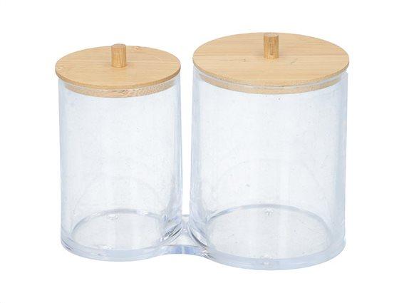 Διπλό Δοχείο οργάνωσης μπάνιου για βαμβάκι και άλλα μικροαντικείμενα με Bamboo καπάκια, 15x8.7x12 cm
