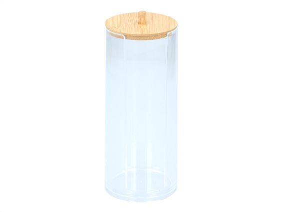 Δοχείο οργάνωσης μπάνιου για βαμβάκι και άλλα μικροαντικείμενα με Bamboo καπάκι, 18.2X7.7 cm