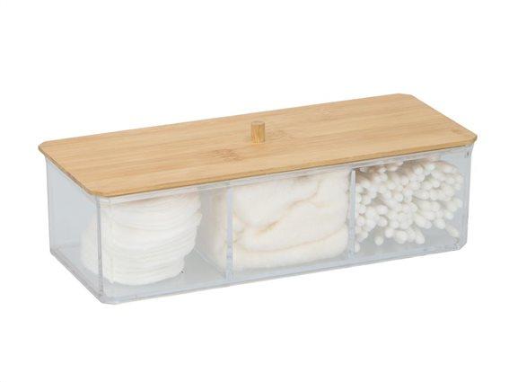 Δοχείο οργάνωσης μπάνιου για βαμβάκι και άλλα μικροαντικείμενα με Bamboo καπάκι, 23,4X9,5X7 cm