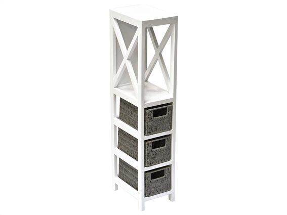 Aria Trade Ξύλινη Συρταριέρα Μπάνιου με ράφι και 3 καλάθια, σε λευκό χρώμα, 17x24x82 cm, Cabinet