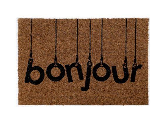 Πατάκι Χαλάκι εισόδου σε καφέ χρώμα με σχέδιο Bonjour, 40x60 cm, Doormat Bonjour