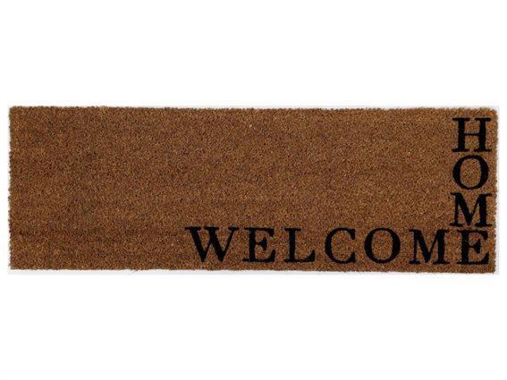 Πατάκι Χαλάκι εισόδου σε καφέ χρώμα σε ορθογώνιο σχήμα, 75x25 cm, Doormat Welcome Home