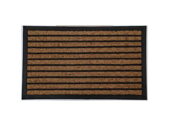 Πατάκι Χαλάκι εισόδου σε καφέ χρώμα με σχέδιο ρίγες, 75x45 cm, Doormat with stripes