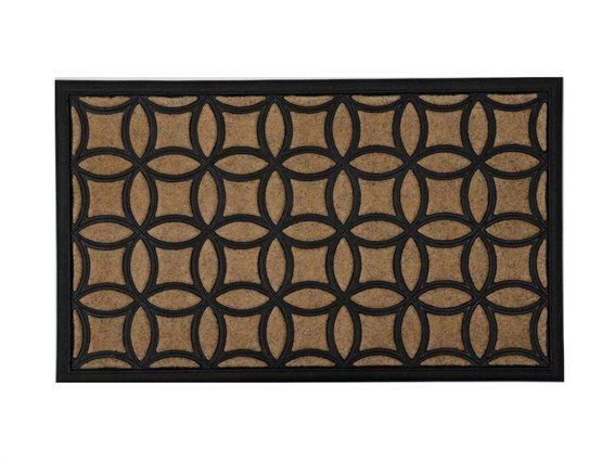 Πατάκι Χαλάκι εισόδου σε καφέ χρώμα με γεωμετρικό σχέδιο, 45x75 cm, Doormat