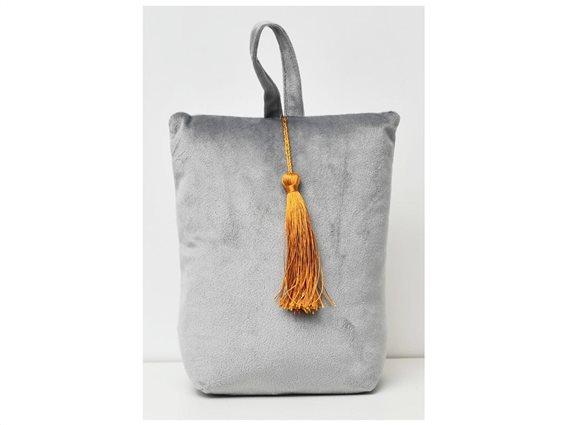 Στοπ Πόρτας σε σχήμα τσάντας με βελούδινο ύφασμα σε γκρι χρώμα, Velvet Door stopper Light Gray
