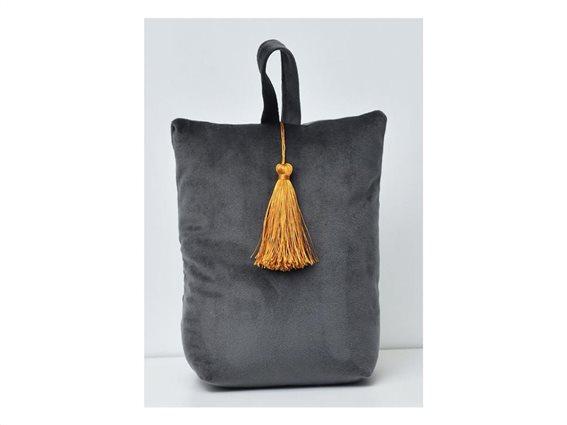 Στοπ Πόρτας σε σχήμα τσάντας με βελούδινο ύφασμα σε σκούρο γκρι χρώμα, Velvet Door stopper Dark Gray