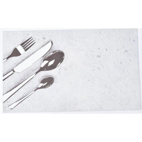 Πατάκι χαλάκι κουζίνας με Print σε Γκρι φόντο, Bistrot, 45x75cm