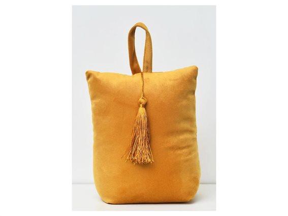 Στοπ Πόρτας σε σχήμα τσάντας με βελούδινο ύφασμα σε χρυσό χρώμα, Velvet Door stopper gold