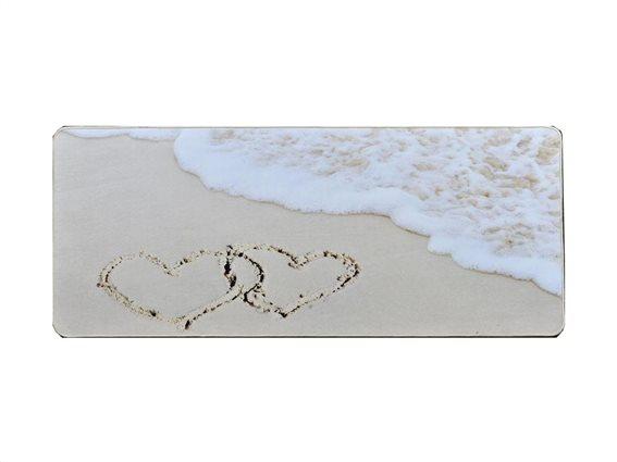 Πατάκι χαλάκι κουζίνας με σχέδιο Καρδιές στην άμμο, 50x120 cm, Kitchen mat Romance