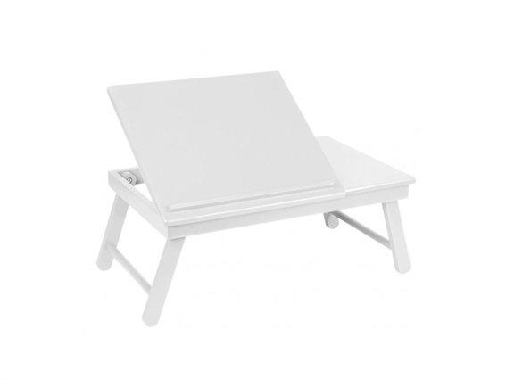 Ξύλινο Πτυσσόμενο Τραπεζάκι Laptop σε λευκό χρώμα, 55X35X25cm
