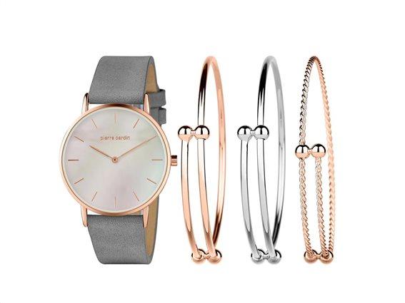 Pierre Cardin PCX7560L304 Σετ συλλογή Κοσμημάτων με Γυναικείο Ρολόι, Gift set