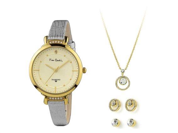 Pierre Cardin PCDX7927L6 Σετ συλλογή Κοσμημάτων με Γυναικείο Ρολόι, Gift set