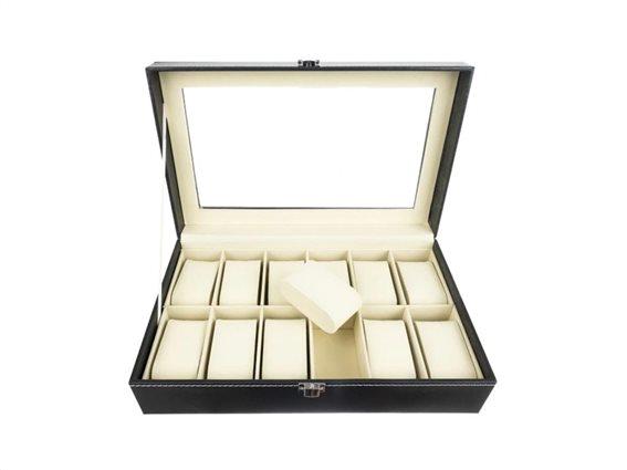 Δερμάτινη θήκη ρολογιών με 12 θέσεις, βελούδινη εσωτερική επένδυση, 33.3x20.5x9 cm,  Watch organizer