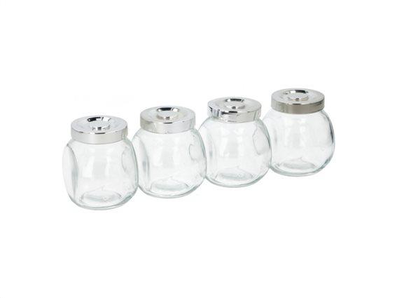 Alpina Switzerland Σετ Γυάλινα Βαζάκια 4 τεμαχίων για μπαχαρικά 200ml, 8x8x6 cm, Storage jar