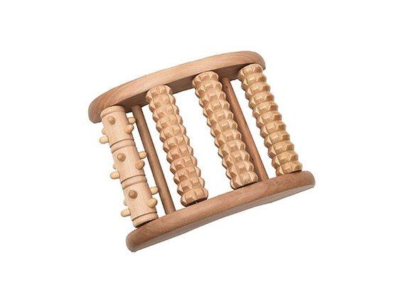 Ξύλινο Εργαλείο Μασάζ για πόδια σε φυσικό χρώμα ξύλου, 14x18.2x5 cm, Massage roller