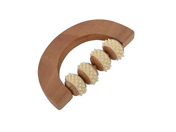 Ξύλινο Εργαλείο Μασάζ σε φυσικό χρώμα ξύλου, 15.7x9x3.5 cm, Massage roller