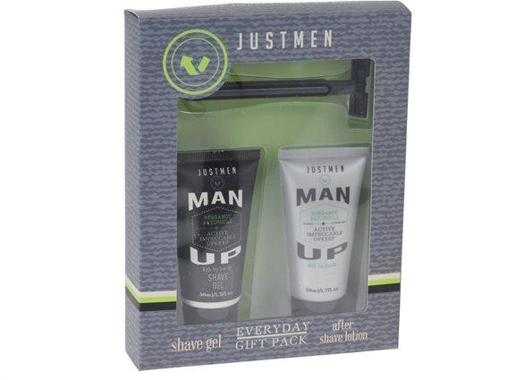 Σετ δώρου με After Shave Lotion, gel Ξυρίσματος και ξυραφάκι, με εκχύλισμα tea tree oil, Just Men