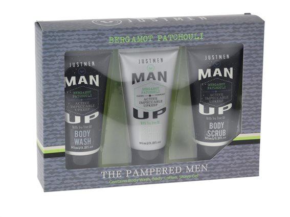 Σετ δώρου με BodyLotion, Αφρόλουτρο kai Bodyscrub με  εκχύλισμα tea tree oil, Just Men