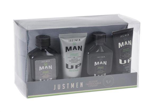 Σετ δώρου με BodyLotion, Αφρόλουτρο Gel ξυρίσματος, Σαμπούαν και νεσεσέρ, Just Men