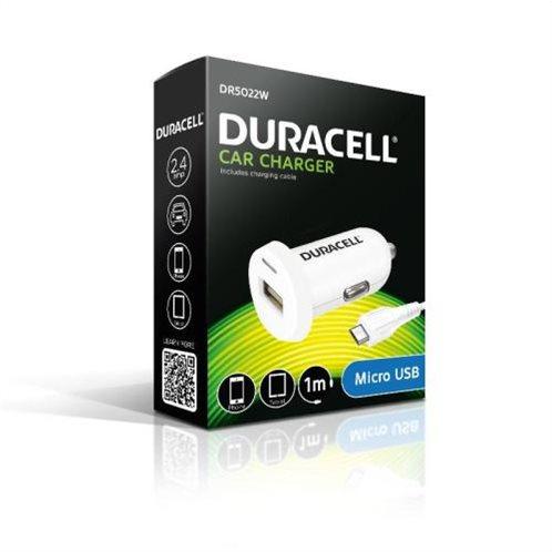 Φορτιστής Αυτοκινήτου Duracell με Έξοδο USB 2.4Α & Καλώδιο Micro USB 1m Λευκό