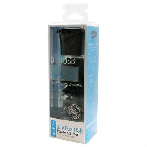 Φορτιστής Ταξιδίου Melkco Worldwide EU/UK/US/AU με Διπλή Έξοδο USB 1.0A & 2.0A