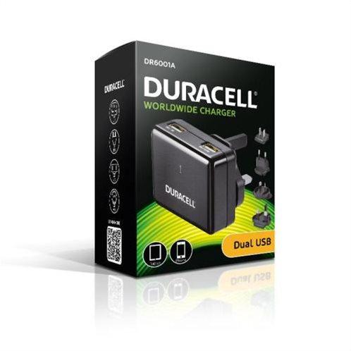 Φορτιστής Ταξιδίου Duracell Worldwide EU/UK/US/AU με Διπλή Έξοδο USB 3.4A Μαύρο