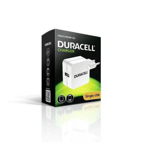 Φορτιστής Ταξιδίου Duracell με Έξοδο USB 2.4A Λευκό
