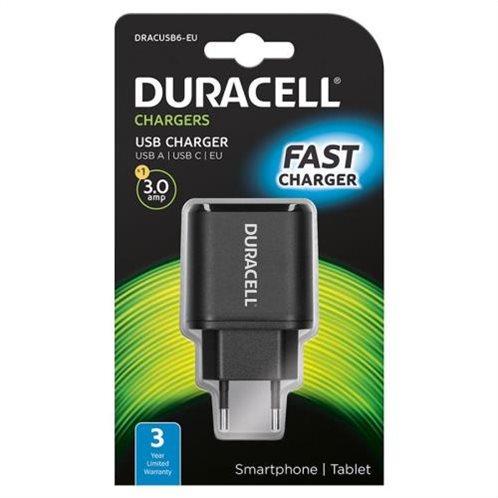 Φορτιστής Ταξιδίου Duracell με Έξοδο USB A & Έξοδο USB C 3.0A Μαύρο