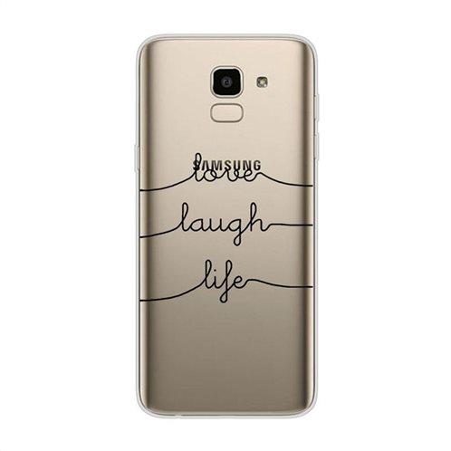 Θήκη TPU inos Samsung J600F Galaxy J6 (2018) Art Theme Love-Laugh-Life