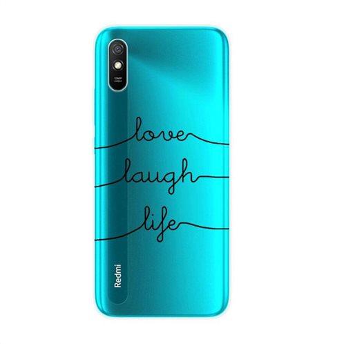 Θήκη TPU inos Xiaomi Redmi 9A Art Theme Love-Laugh-Life