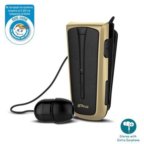 Στερεοφωνικό Ακουστικό Bluetooth iPro RH219s Retractable με Δόνηση Μαύρο-Χρυσό