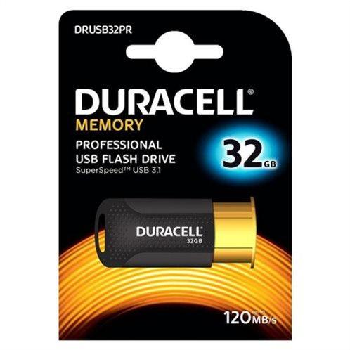 USB 3.1 Flash Disk Duracell Professional 32GB 120MB/s Μαύρο-Χρυσό