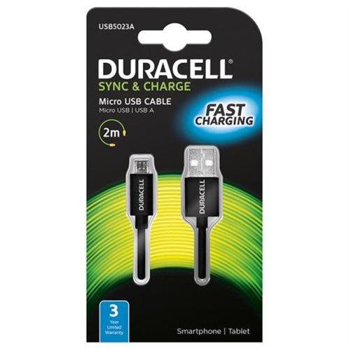 Duracell Καλώδιο Σύνδεσης USB 2.0 USB A σε Micro USB 2m Μαύρο