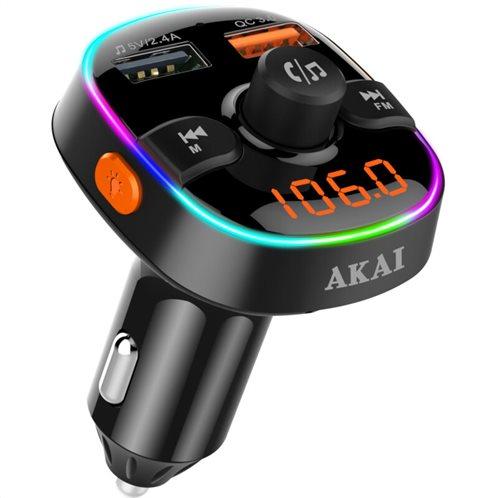 Akai FMT-52BT FM transmitter με LED, Hands Free, φορτιστή αυτοκινήτου, Bluetooth, microSD, και 2 USB