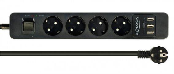 DELOCK Πολύπριζο 11209 4 θέσεων 3x USB με διακόπτη LED 1.5m μαύρο