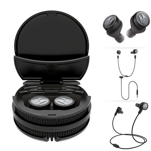 Motorola TECH3 Black 3 σε 1 True wireless αδιάβροχα ασύρματα Bluetooth ακουστικά