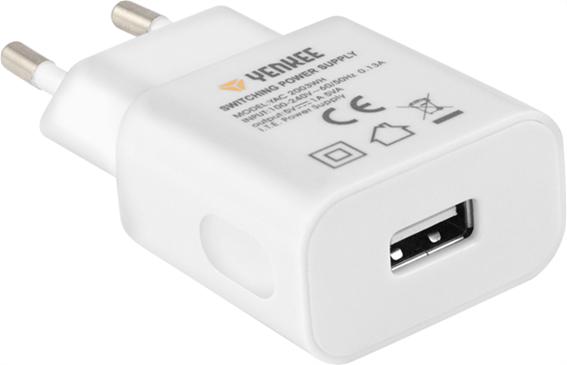 Yenkee Αντάπτορας Πρίζας Ταξιδιού USB 1000 mAh Λευκό YAC 2003WH