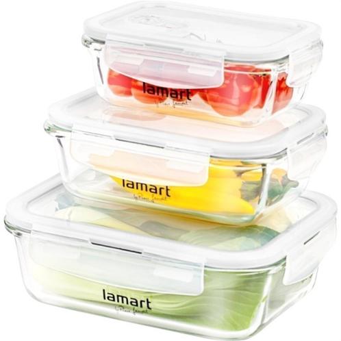 Lamart lt6011 σετ 3 γυάλινα δοχεία φαγητό