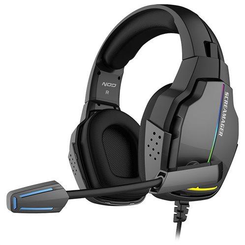 NOD Gaming headset με αναδιπλούμενο μικρόφωνο και rainbow RGB LED φωτισμό.  NOD SCREAMAGER