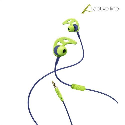 """Hama """"Action"""" Sports Ακουστικά, in-ear με ear-hook, μπλέ/πράσσινο"""