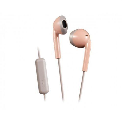 Ρετρό Ακουστικά HAF19MPTμε κουμπί & Mic Ροζ