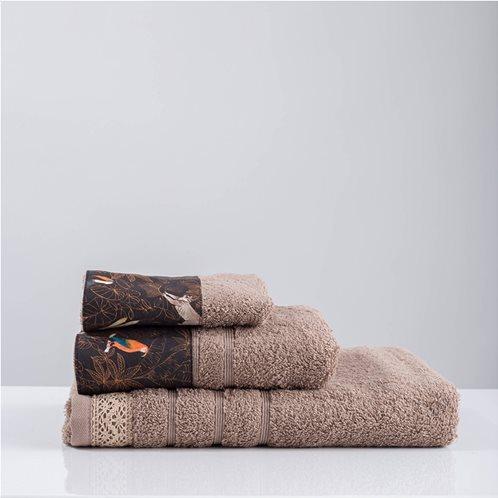 White Fabric Πετσέτα Yasa Μπεζ Μπάνιου