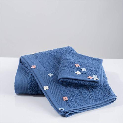 White Fabric Σετ Πετσέτες Flowers Applique Μπλε