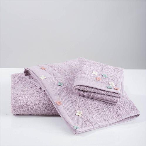 White Fabric Σετ Πετσέτες Flowers Applique Μωβ